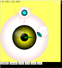 jsfiddle screen shot of eyeballs with different sizes